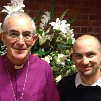 Bishop Graeme Rutherford, with son Jonathan.